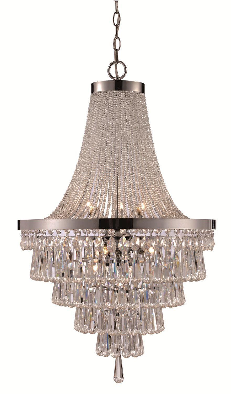Cascading 9 light crystal chandelier