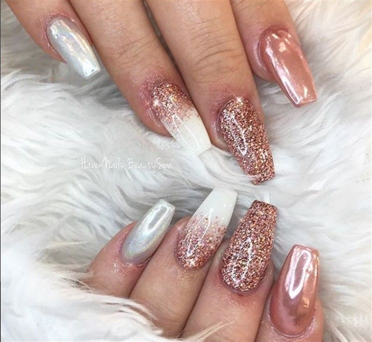 25 Stunning Pink With Glitter Nail Art Designs Fashonails Acrylic Nail Designs Glitter Glitter Nail Art October Nails
