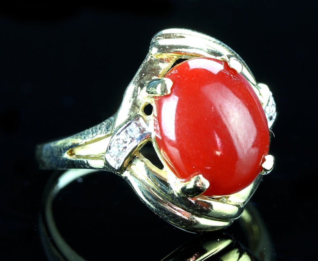 Chinese Gold Coral And Diamond Ring Bizuteria
