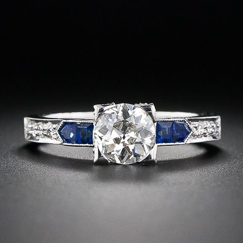 .85 Carat Diamond and Sapphire Engagement Ring