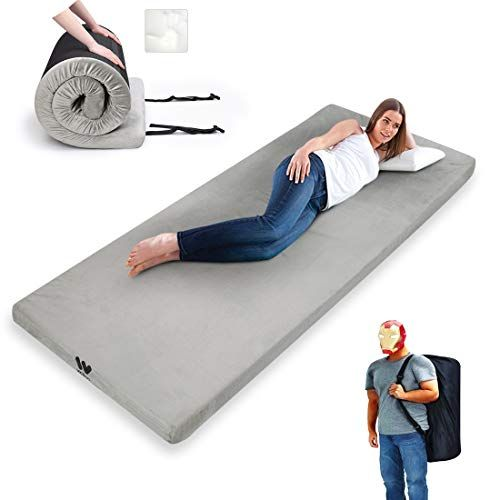 Willpo Certipur-US Memory Foam Camping Mattress【Single:75x30x2.75 Twin 75x38x2.75】 Portable Sleeping Pad Floor Guest Bed Lightweight Outdoor Tent Mattress Removable Waterproof Cover Travel Bag