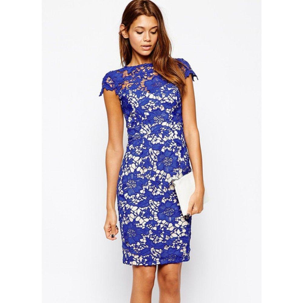 Blauw kanten jurk | Jurk | Pinterest