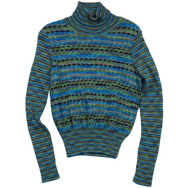 Pre-owned M Missoni Blue & Green Knit Striped Turtleneck Sweater ...