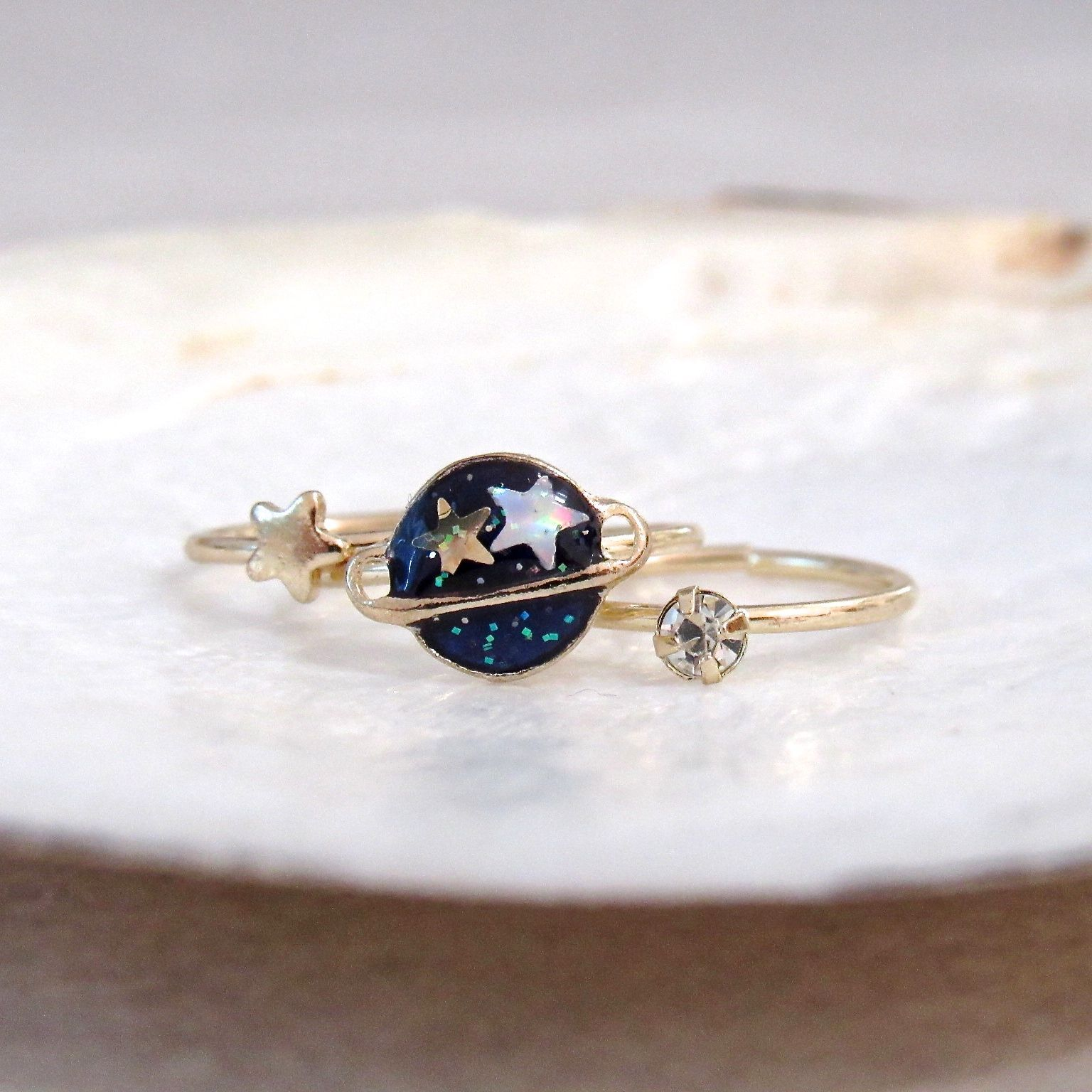 (Preorder!) Planet and Star Midi Ring Set (3pc)