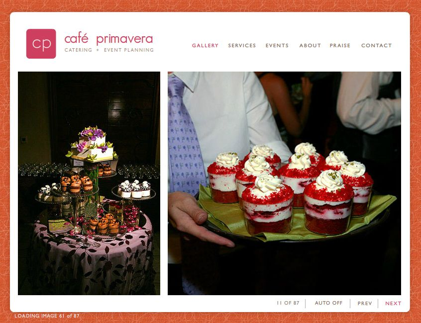 """""""Since 1991, CAFÉ PRIMAVERA has set the standard of excellence for high-end catering and event planning in the Bay Area, dazzling and delighting with signature events. Together, we'll create the perfect ambiance for your celebration, delivered with impeccable attention to every detail."""" Contact: Joanna Biondi, 408.885.8806."""