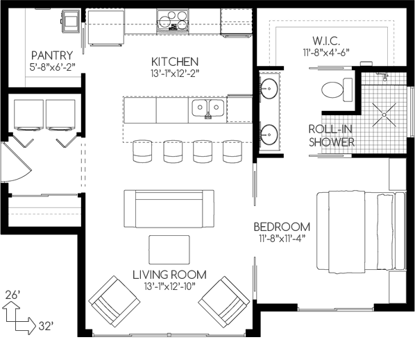 Empty nesters house plan no 580762 house plans by westhomeplanners com pantry and perfect bathroom in small plan