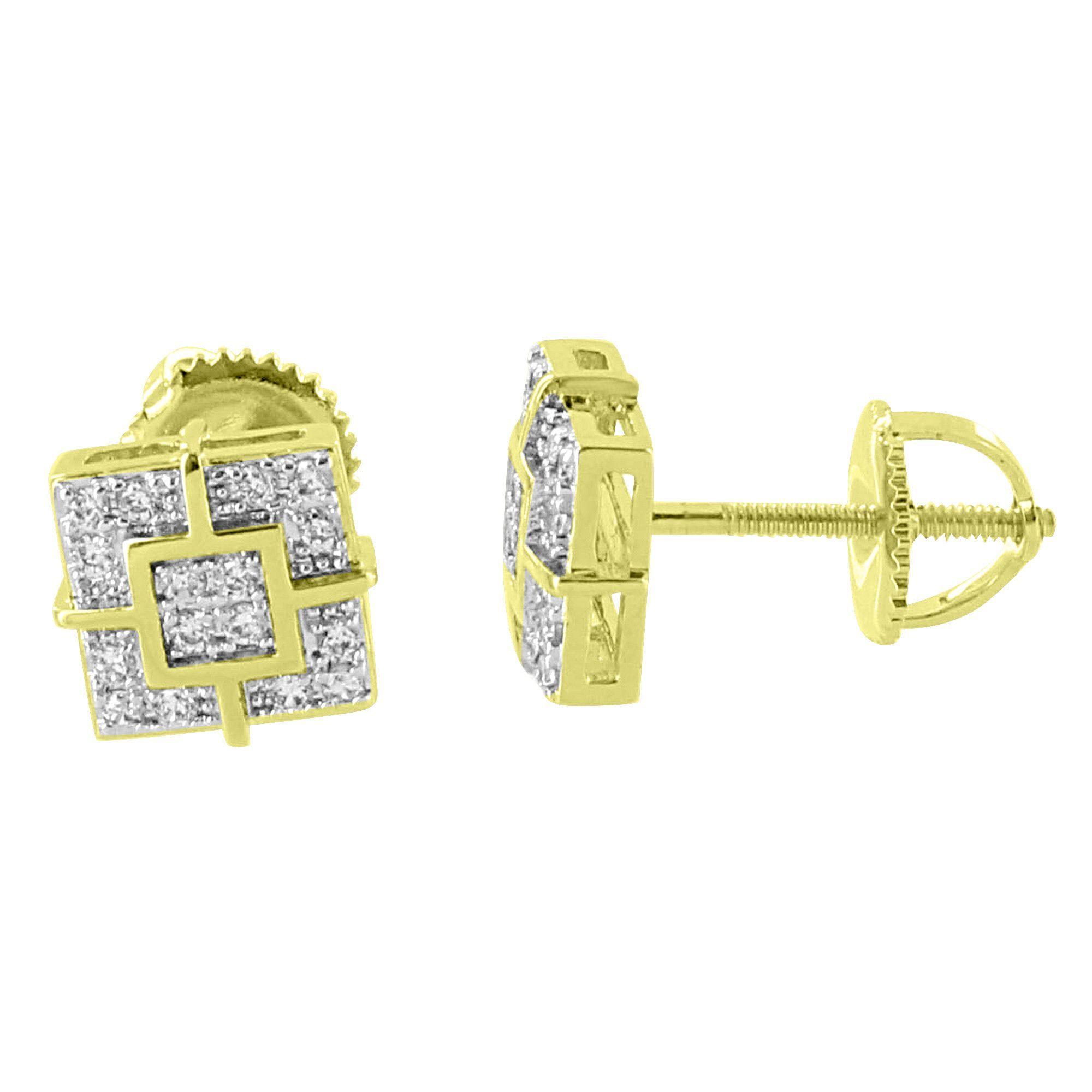 Square Shape Designer Earrings 14K Gold Finish Screw Back Studs