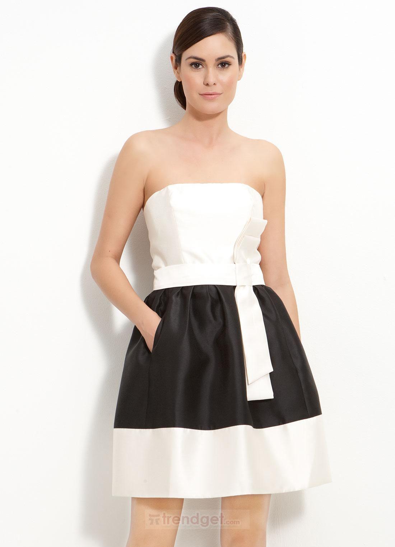 A-Line Strapless Sleeveless Short/Mini Chiffon Lace Black