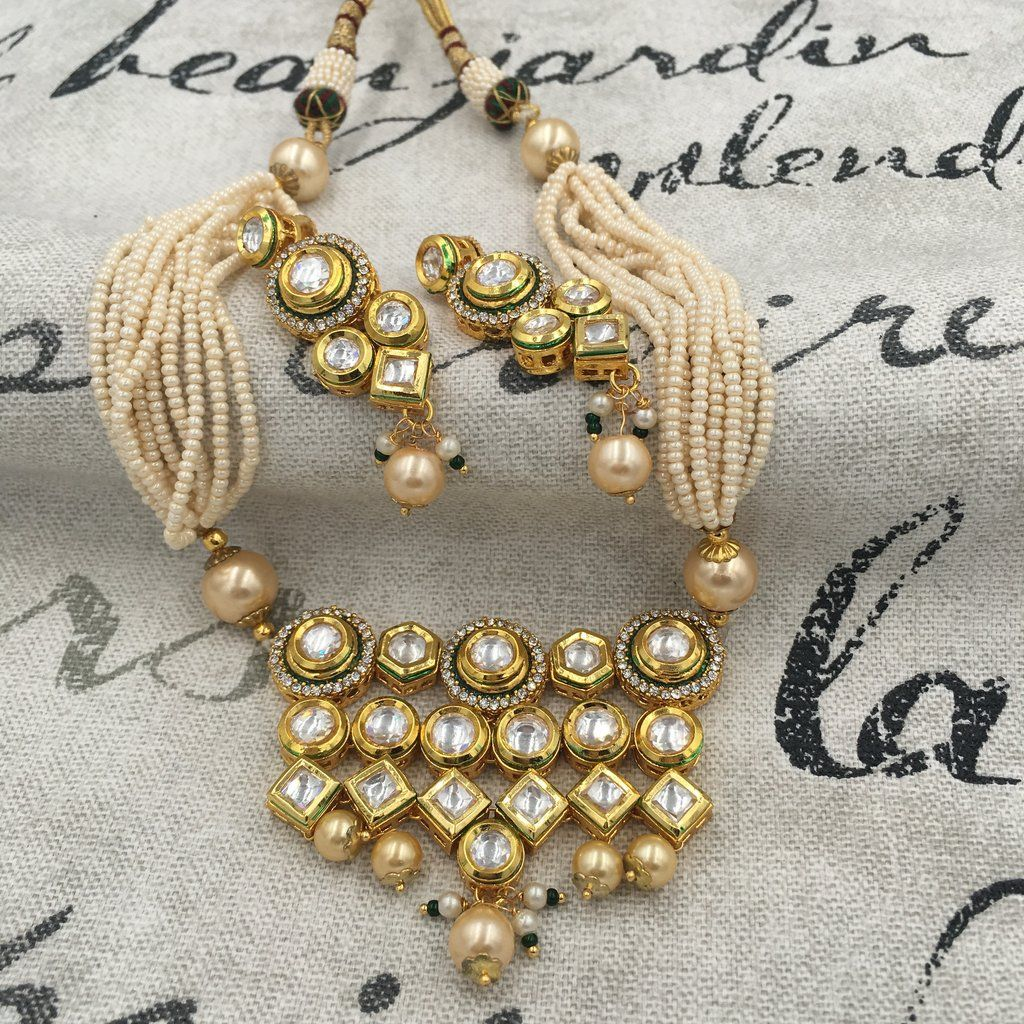 Kundan moti mala with white kundan butti pinterest india