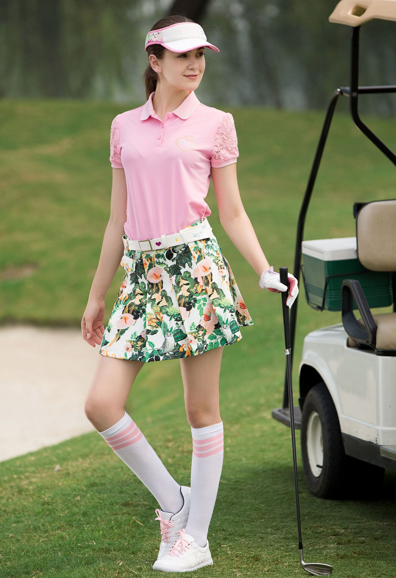 $104, SVG Floral Printed Pleated Women's Athletic Golf Skirt. The all-over  delicated print is sure to turn heads from tee to…   Golf skirts, Fashion, Athletic  women