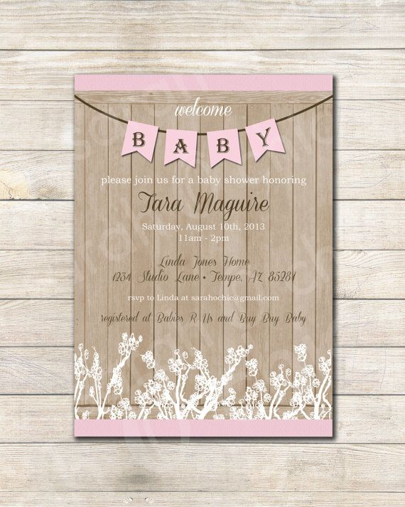 Printable Rustic Baby Shower Invitation Girl Sarah O Chic