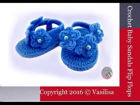 VERY EASY simple striped crochet baby slippers / booties / shoes ...