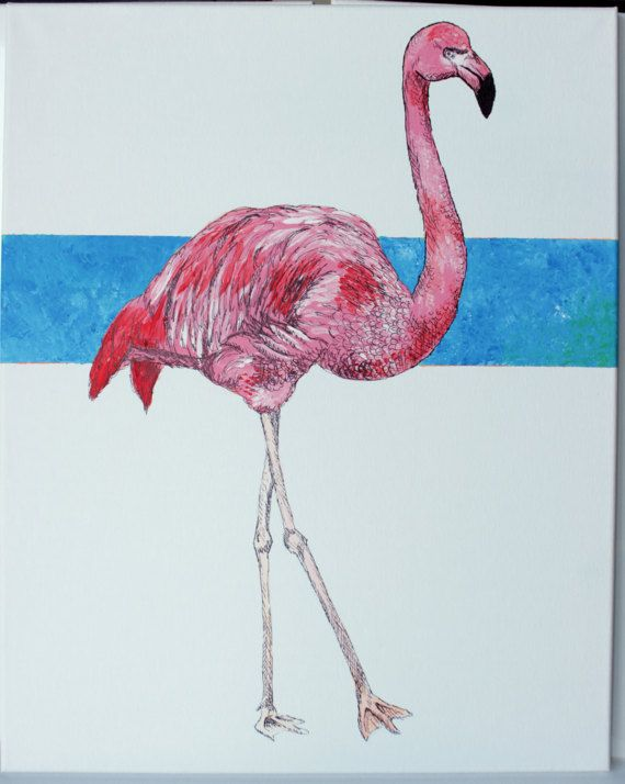Hand Painted Drawn Portrait Of A Bright Pink Flamingo On Clean White Background Contrasted By Bold Blue Stripe Features Simple Color Scheme To