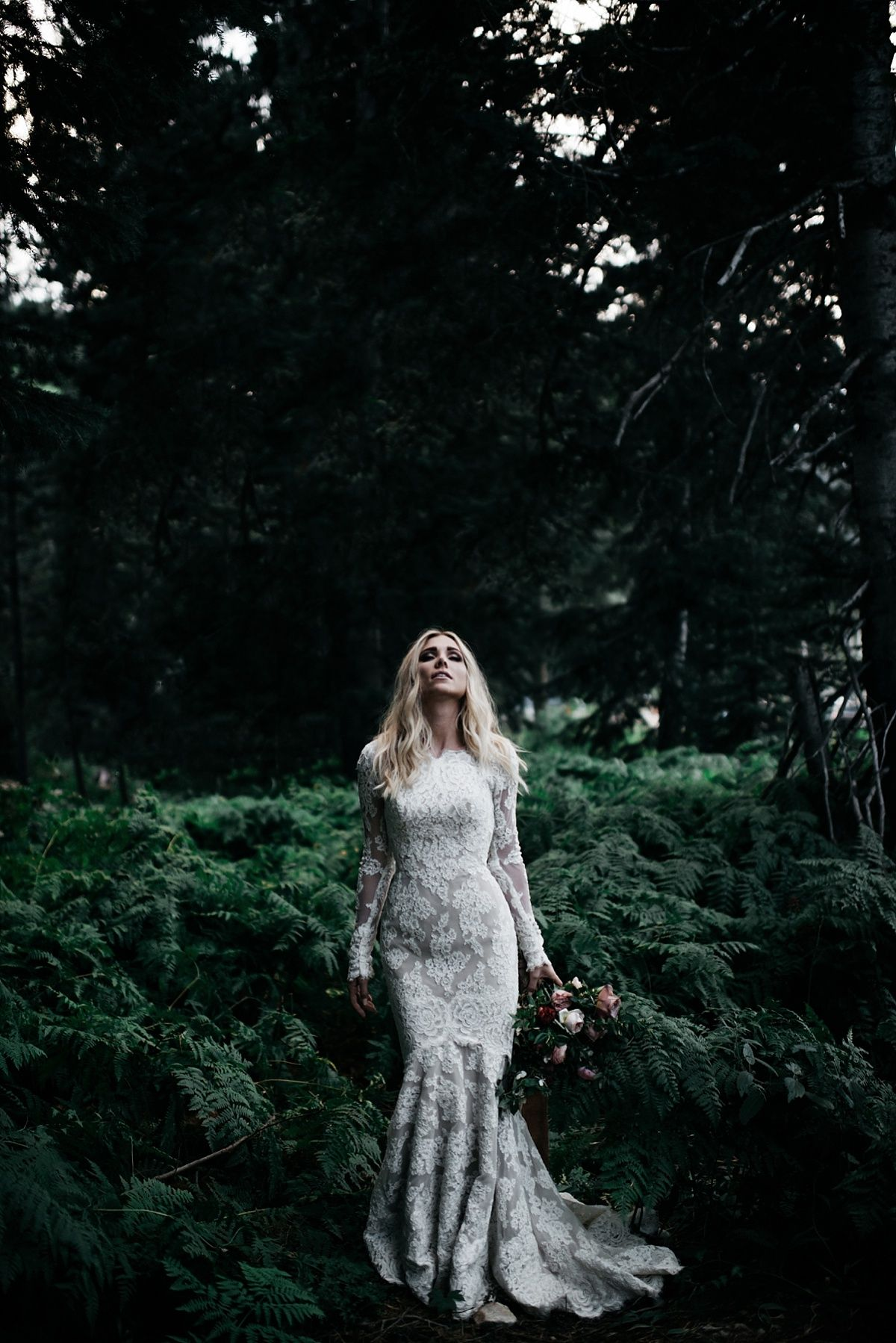 modest wedding dress with long lace sleeve from alta moda.