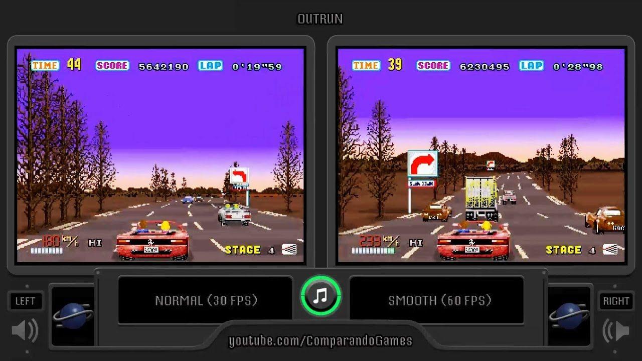 Outrun Sega Saturn 30 Fps Vs 60 Fps Side By Side Comparison Normal Sega Saturn Sega Saturn