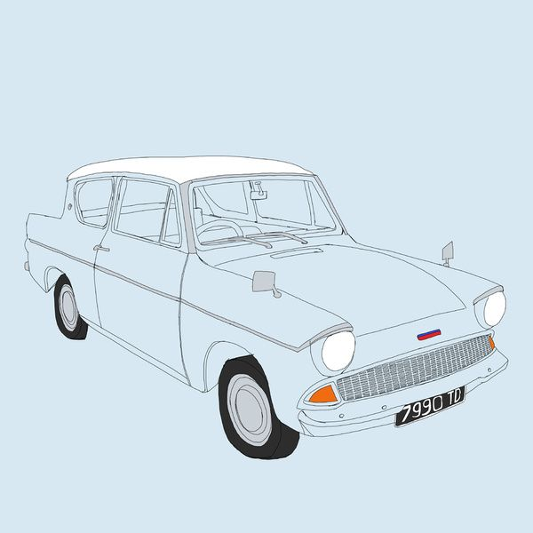 Weasley S Flying Ford Anglia Art Print Croquis Dessin Dessin Croquis