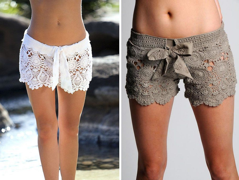 51c21e5ad6 6 free patterns for Crochet Beach Lace Shorts /skirt #diy #crafts #crochet