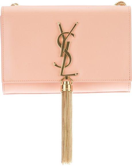 1d77a160250a SAINT LAURENT Pink Small Cassandre Tassel Shoulder Bag - Lyst ...