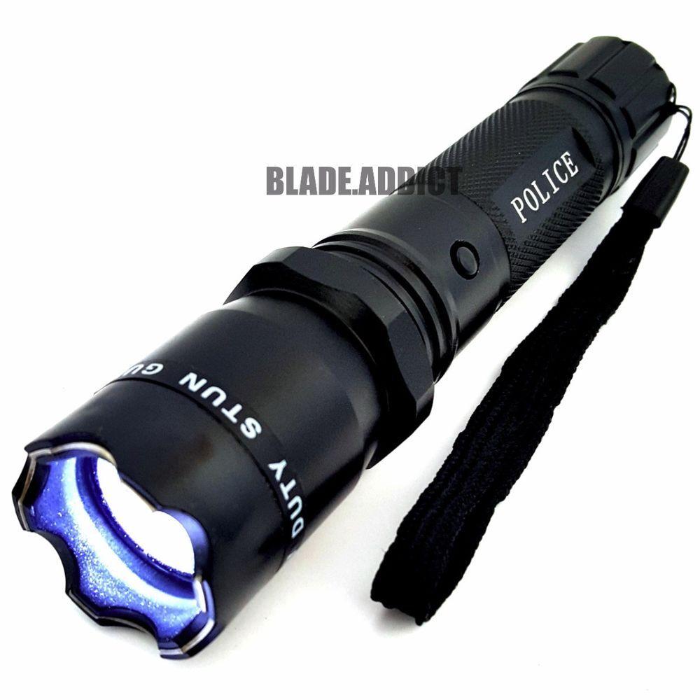 metal police stun gun 230 million volt rechargeable led flashlight