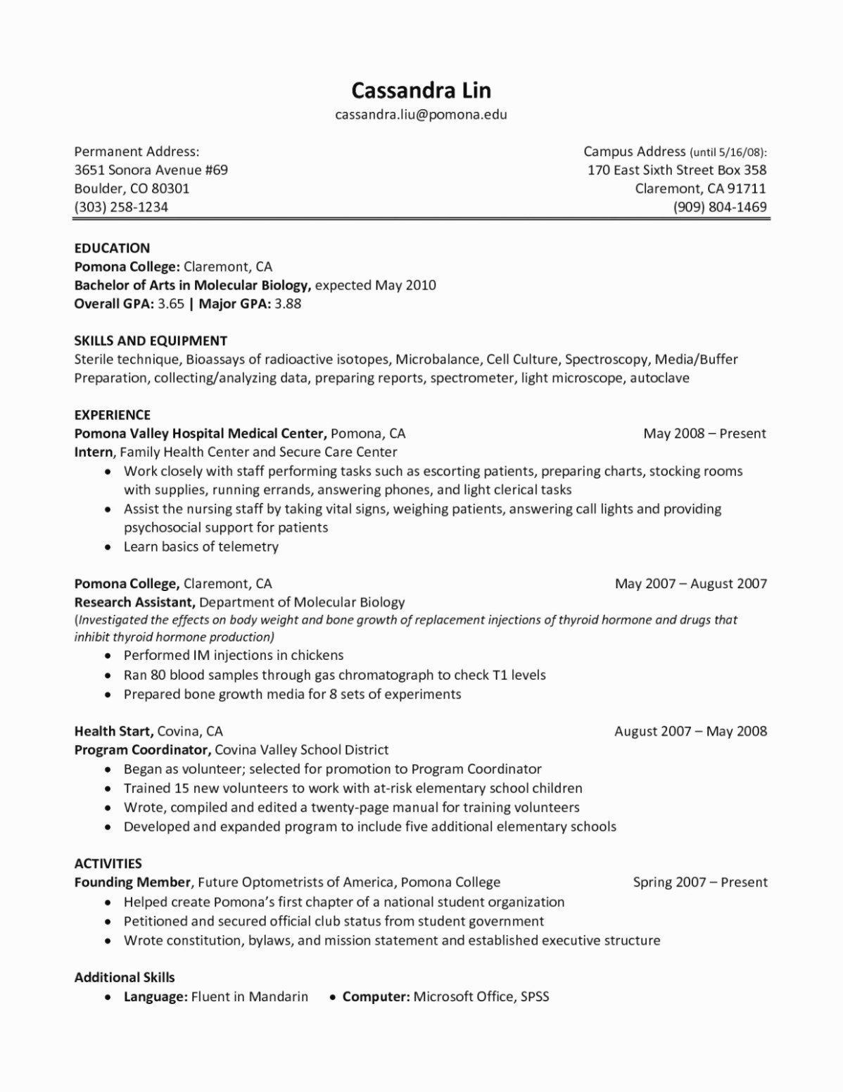 25 Biology Research Assistant Resume In 2020 Sample Mission