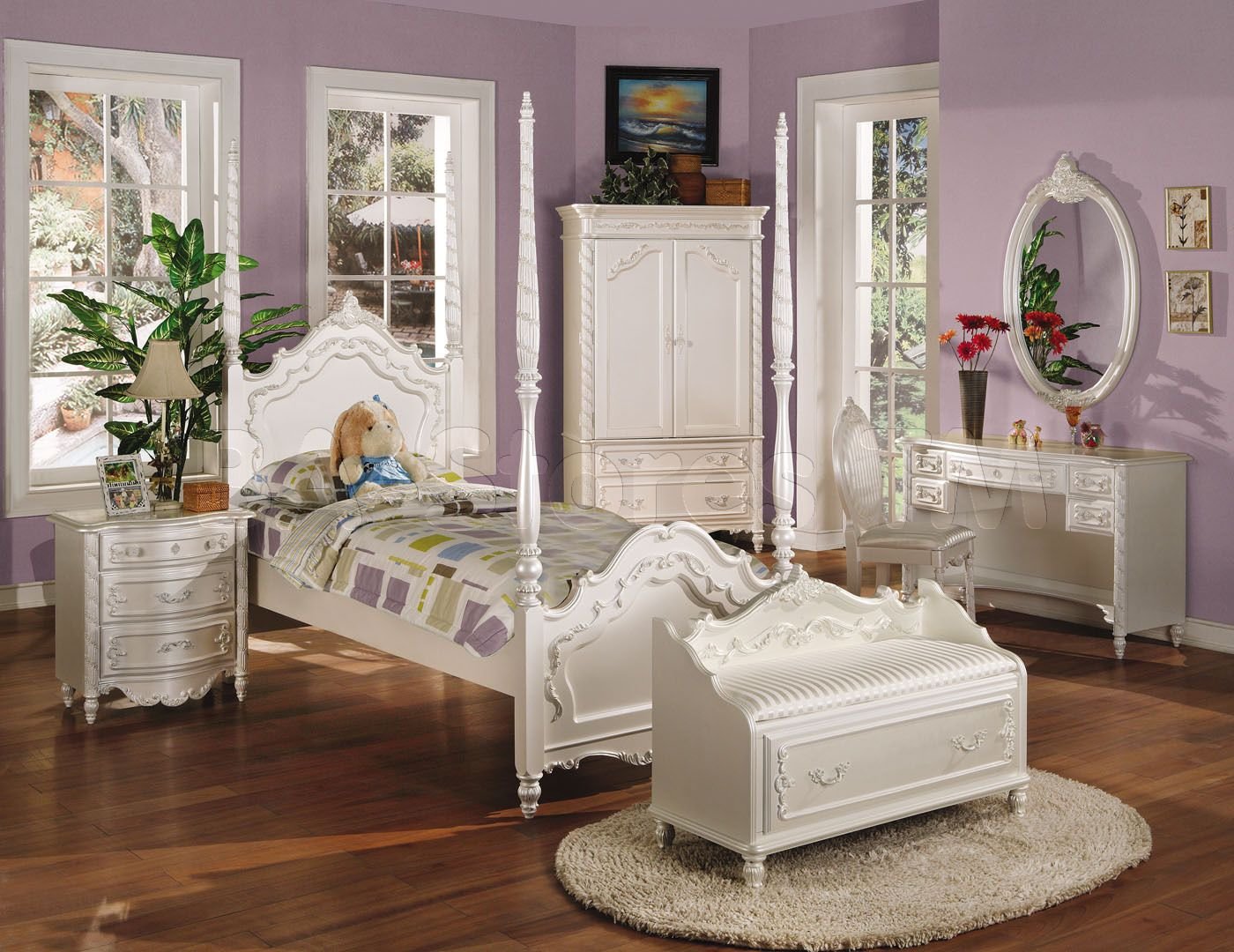Acme Furniture Pearl White Wood Youth Twin Post Bed For Girls
