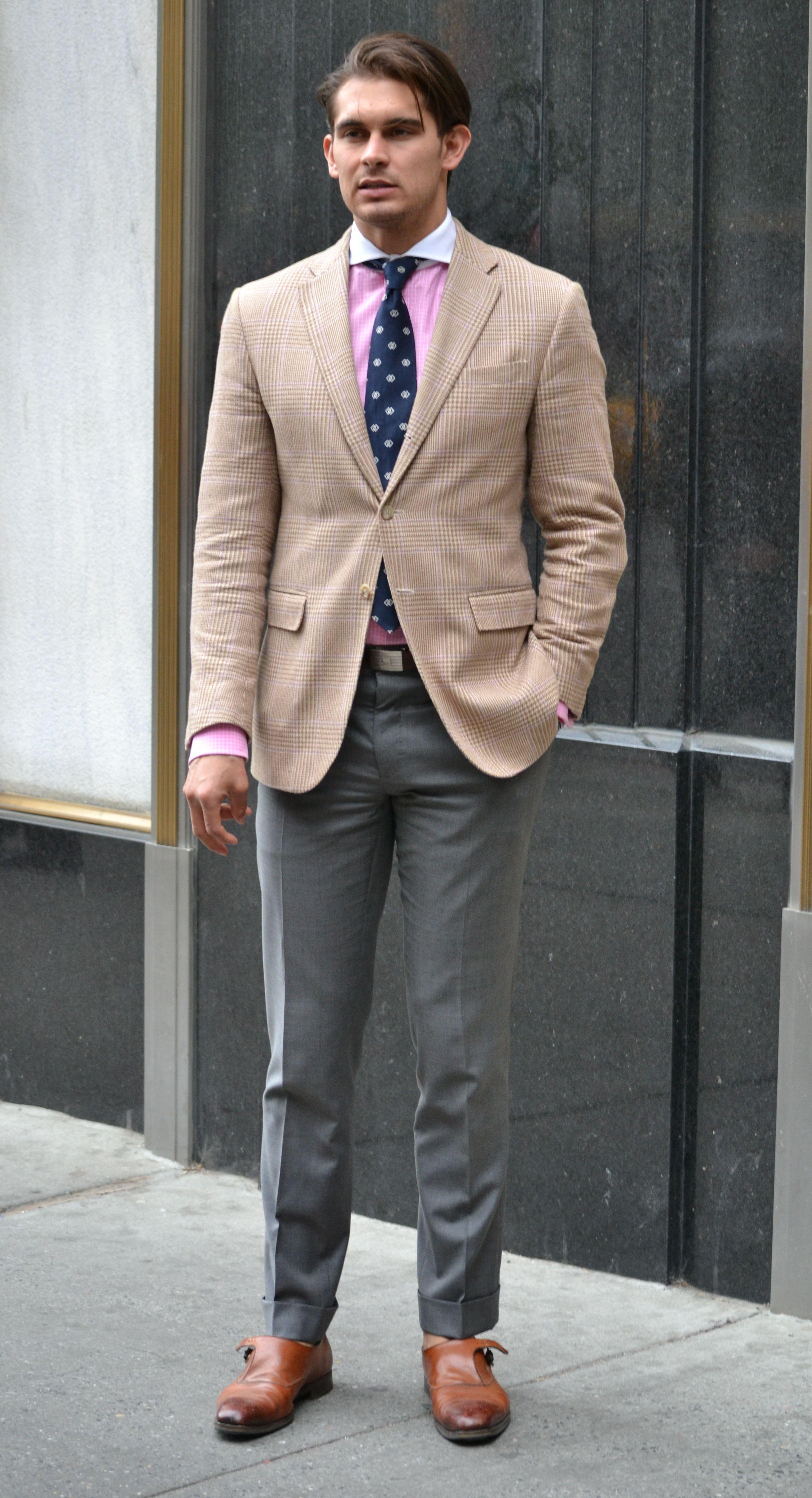 khaki jacket gray pants Google Search Mens outfits