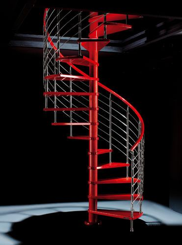 Best Spiral Staircase Metal Frame And Wooden Steps Red Line 400 x 300