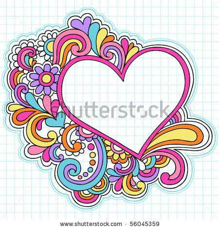stock vector handdrawn psychedelic groovy heart
