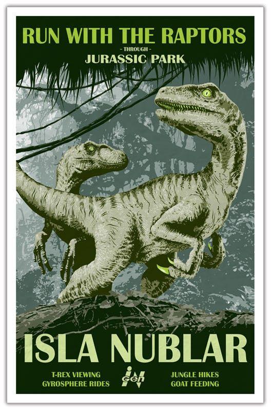 Jurassic Park - Isla Nublar Travel Poster 11x17 #jurassicparkworld