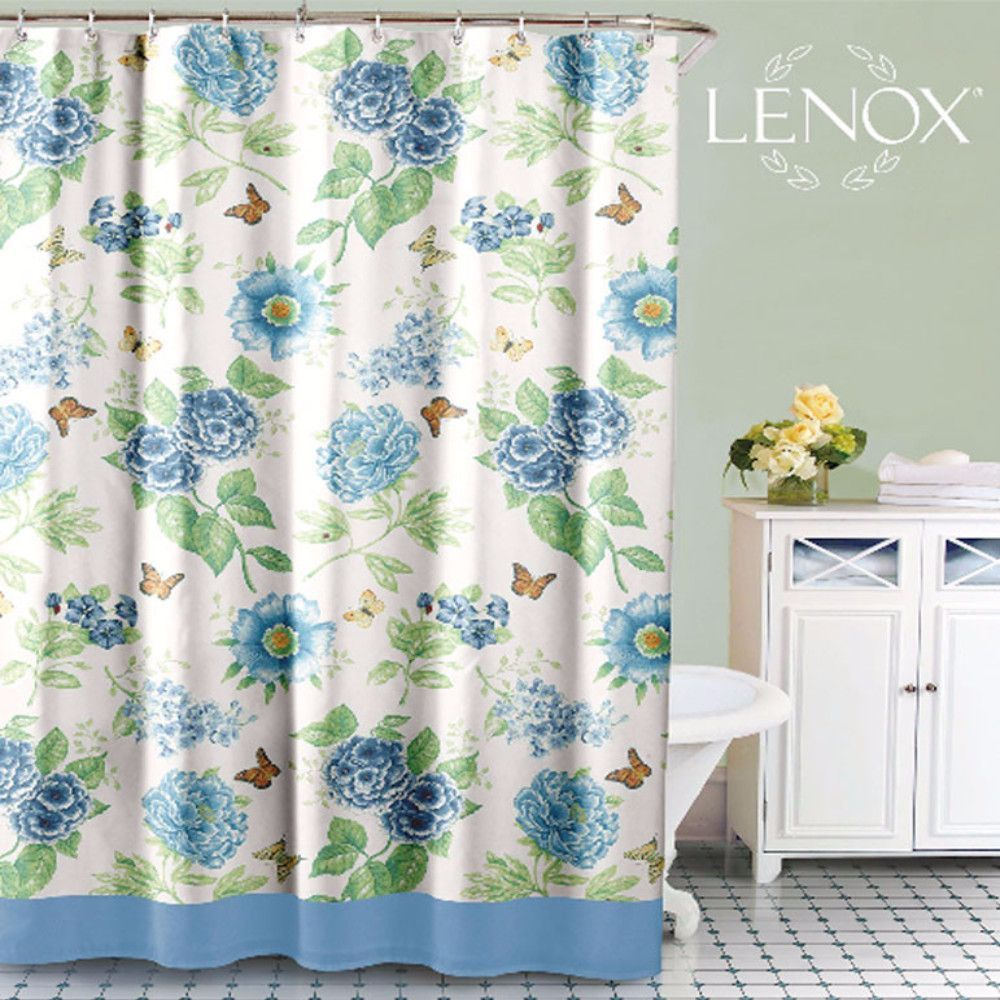 Blue floral garden fabric shower curtain by lenox products