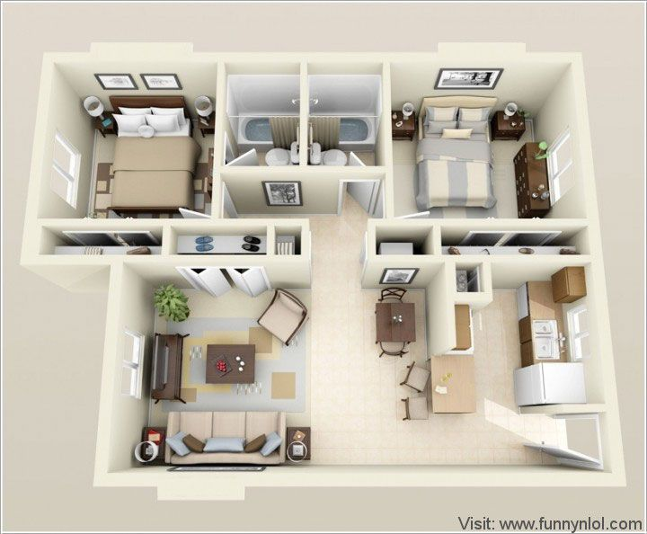 Top 10 Awesome Two Bedroom Apartment 3D Floor Plans by http://www ...