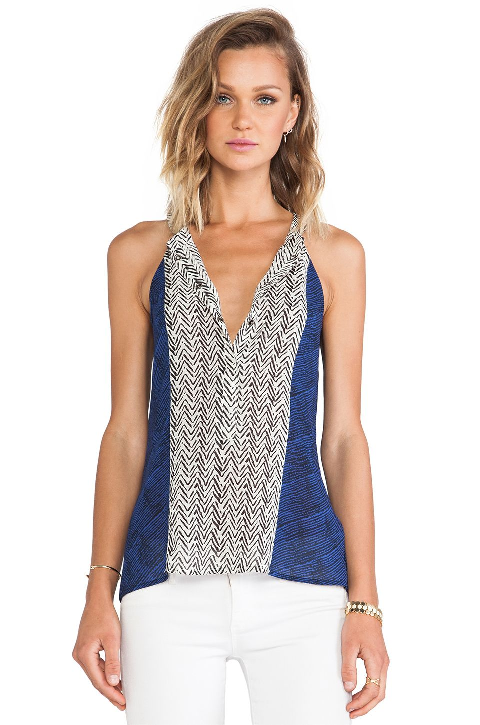Sanctuary Anthropologie Pretty Collage Cami in Blue & White Print sz S