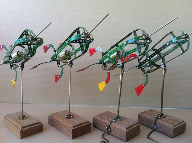 Meccano Rocket lamp made of meccano. For more examples and information check facebook page https://www.facebook.com/OomJanLampen#!/OomJanLampen
