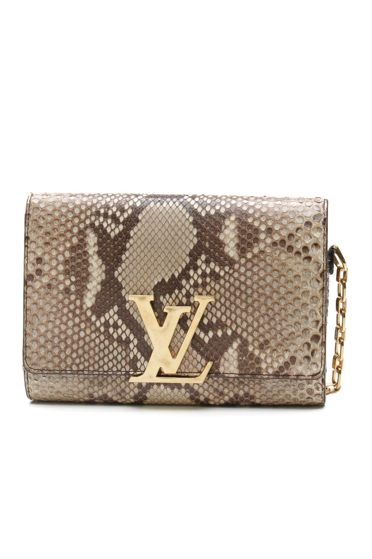 Louis Vuitton Beige Python Chain Louise Clutch Bag  ccc8616174b