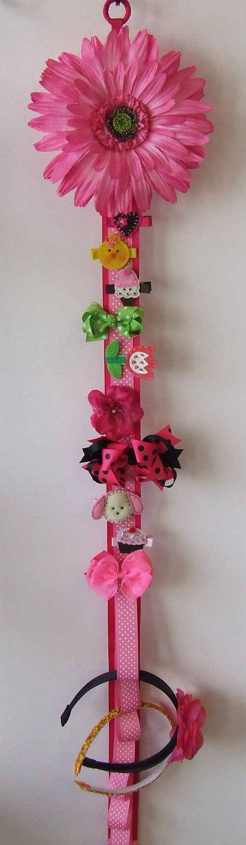 Barrette Hair Bow and Headband Holder DELUXE Wall Hanging Hair Accessories Storage with BLOOMING ...