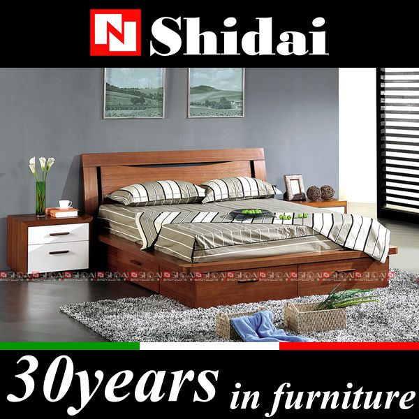 B79 Wood double bed designs with box / wooden box bed design ...