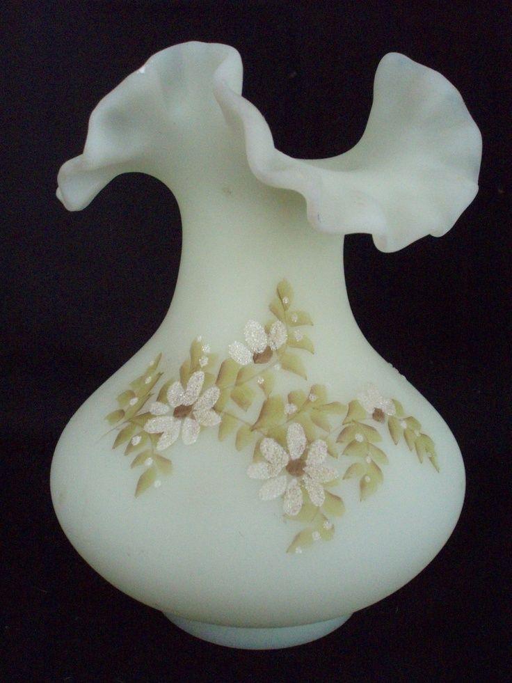 Hand Painted Fenton Glass Vase Fenton 8 In Custard Glass Vase