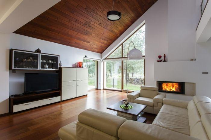 wohnzimmereinrichtung ideen kamin wohnwand dachschräge | Wohnzimmer ...