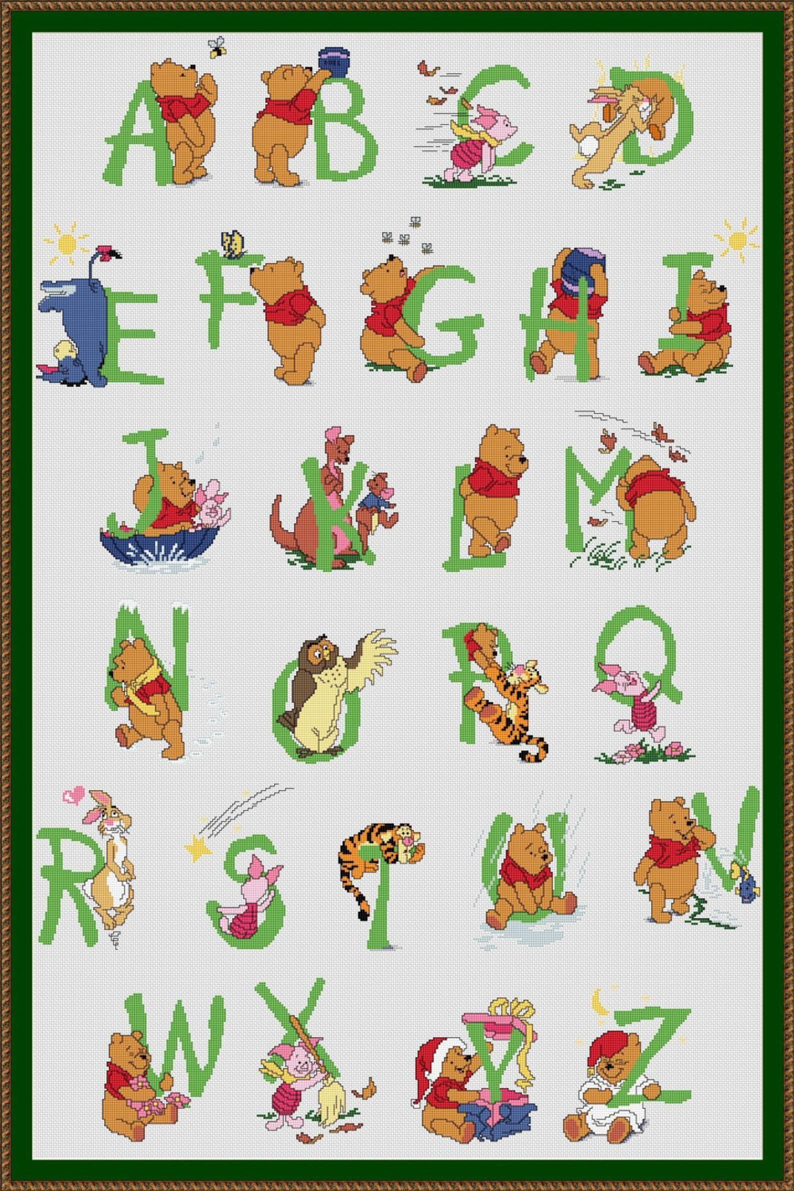 Winnie Alphabet Cross Stitch Patterns Cross Stitch Fonts Alphabet Engraved Abc Letters Lettering Text Characters Cross Stitch 016 Borduurpatronen Borduren Etsy