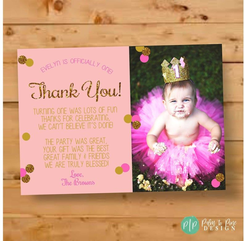 First Birthday Thank You Card Pink Gold Glitter Thank You Etsy Birthday Thank You Cards Birthday Thank You Birthday Invitations Kids