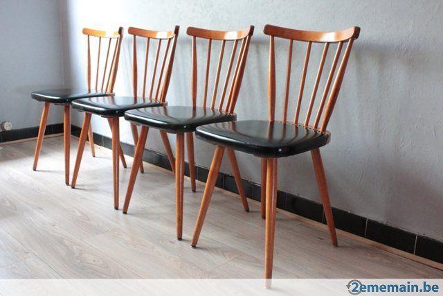 vintage chaises bistrot en bois et skai
