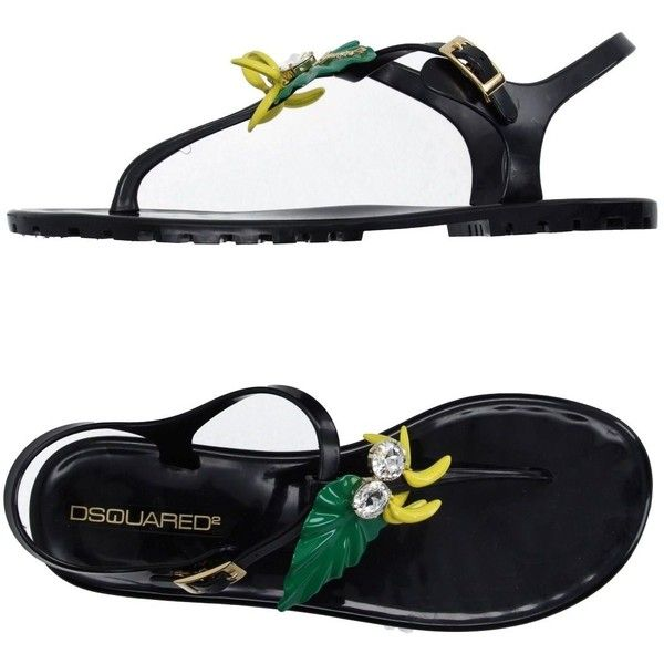 Dsquared2 Toe Post Sandal ($78) ❤ liked on Polyvore featuring shoes, sandals, black, flat shoes, black thong sandals, black flat shoes, rhinestone thong sandals and rhinestone shoes