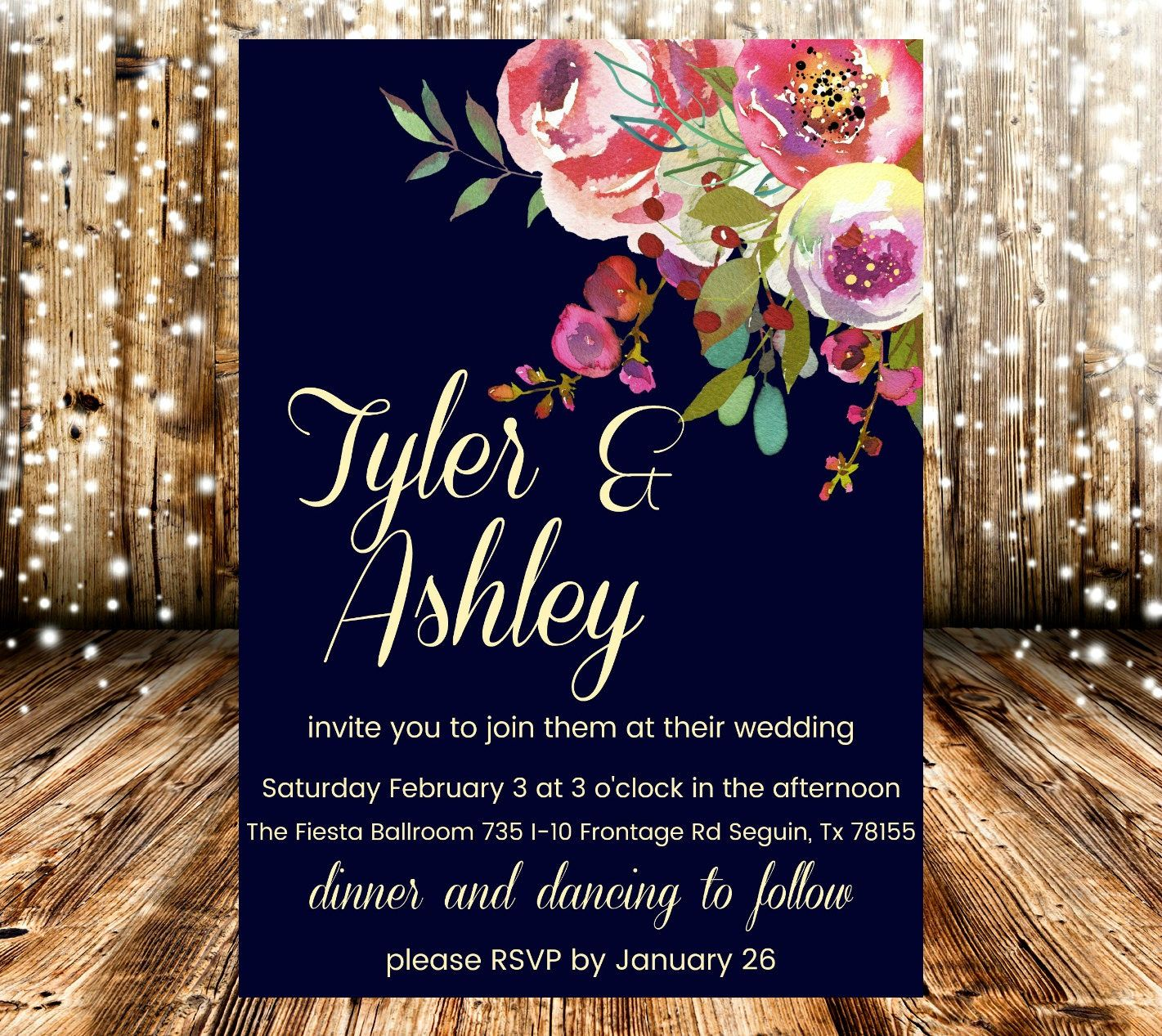 Navy Pink Yellow Floral Wedding Invitation by StinkinCuteDesignsCo ...