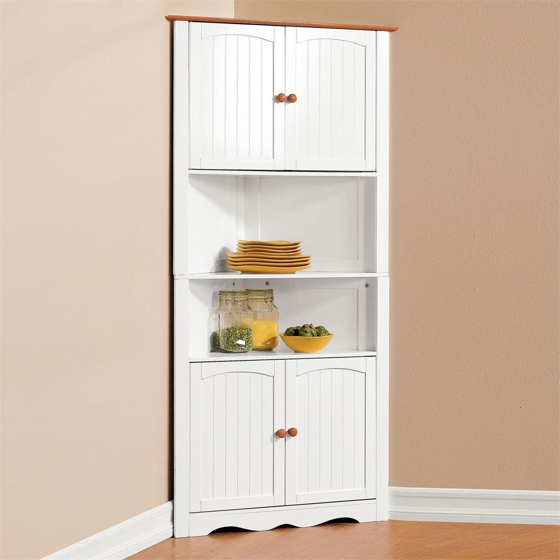 Amazon Com Brylanehome Country Kitchen Corner Cabinet