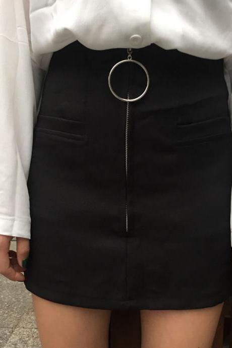 c4df27b218 Black A-line Mini Skirt with Silver Hoop Zipper Detailing   Clothes ...