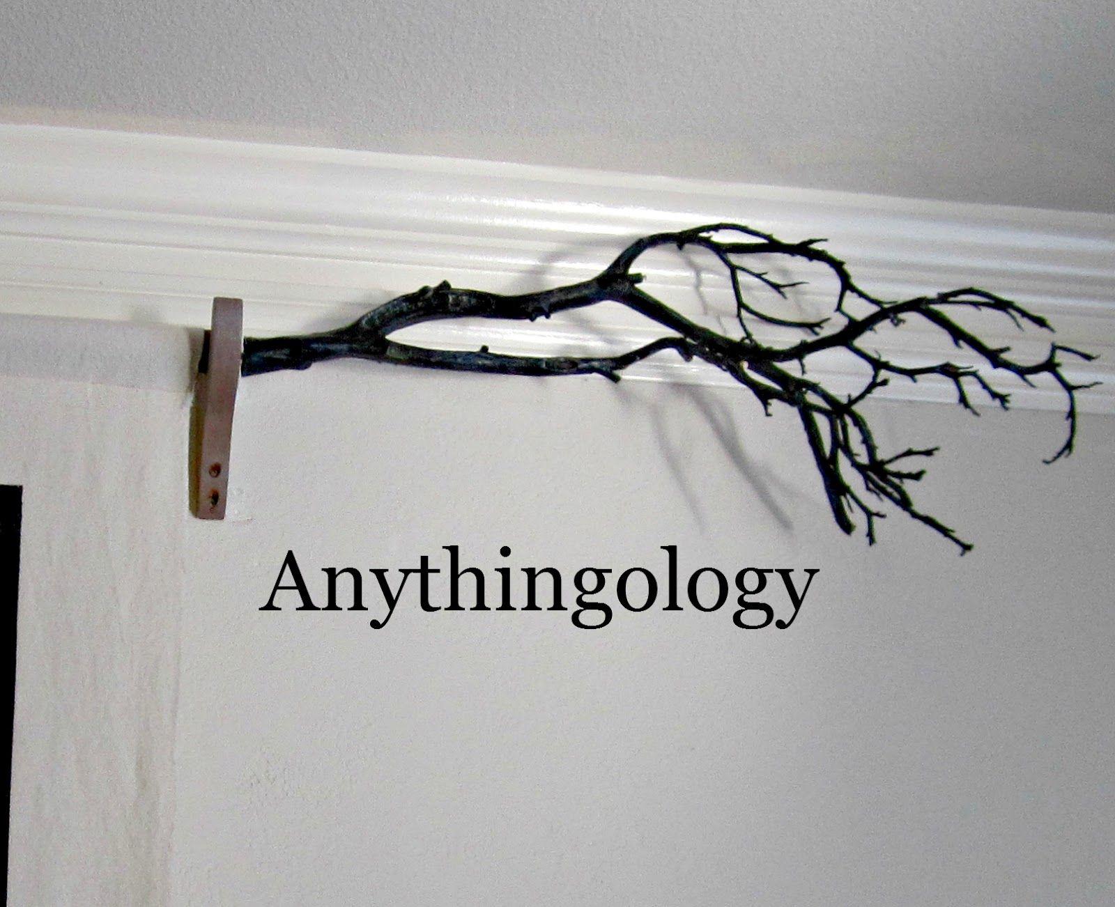 tree branch as curtain rod finials