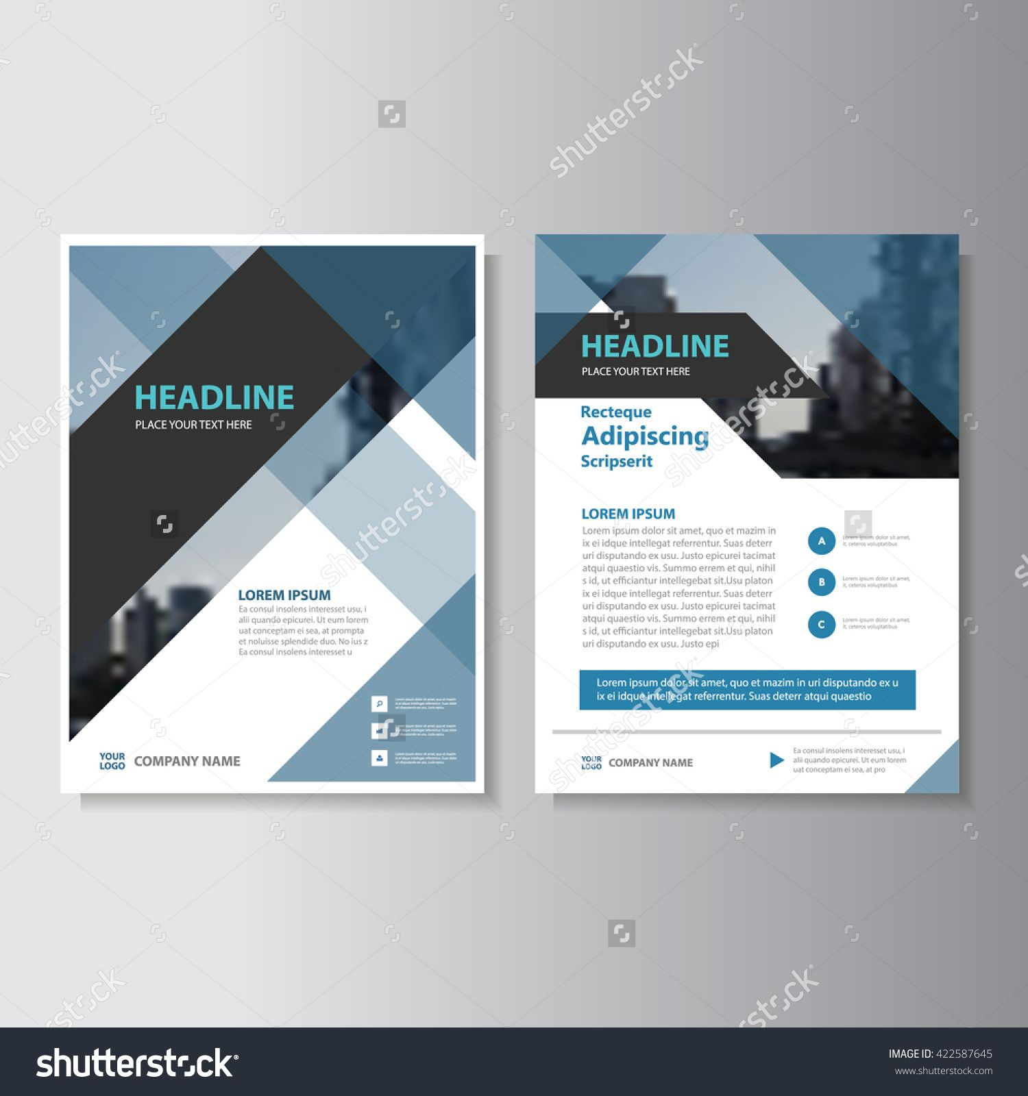 Blue And Black Abstract Corporate Leaflet Brochure Flyer Template