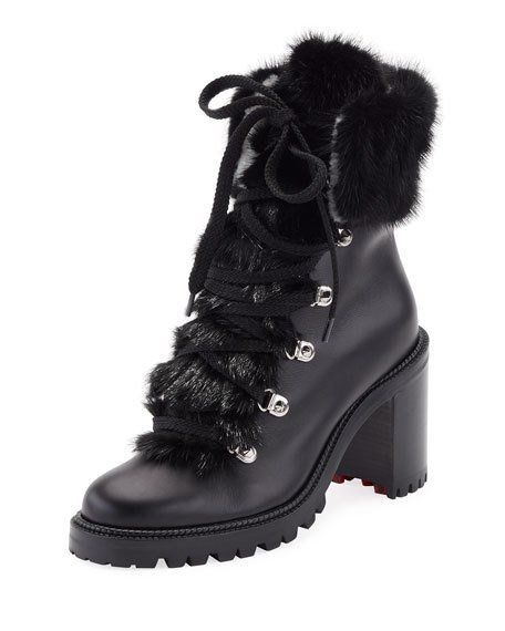 3a48e04c202 Fanny Leather Fur-Trim Red Sole Combat Boot | The Imelda Marcos In ...