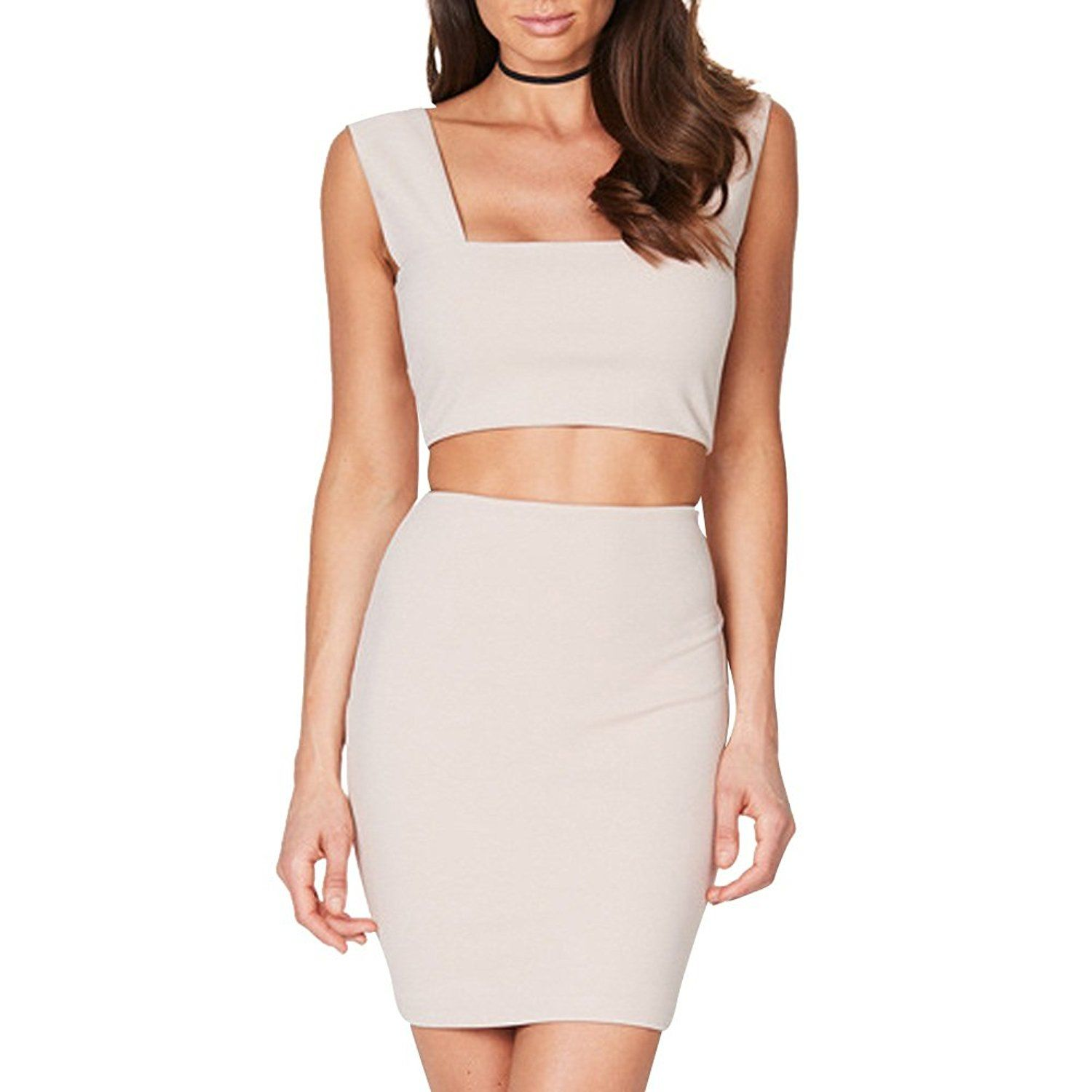 ae649f1a2bf Two Piece Skirt And Crop Top Set Amazon