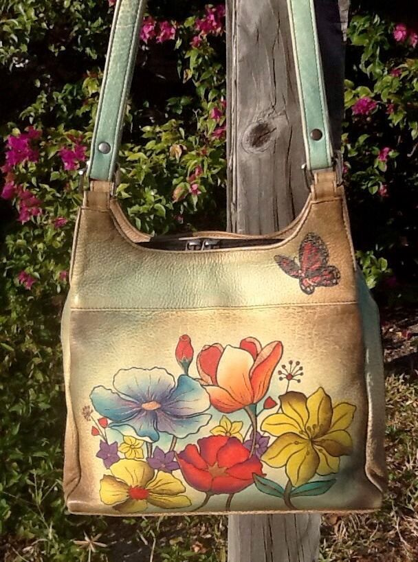 Anuschka Hand Painted Flowers Dragonfly Butterfly Zip Around Shoulder Bag EUC! #Anuschka #ShoulderBag